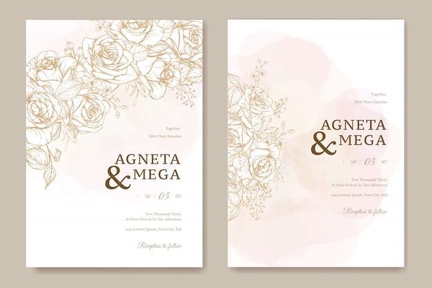 Elegancki Kwiatowy Szablon Zaproszenia ślubne Darmowych Wektorów