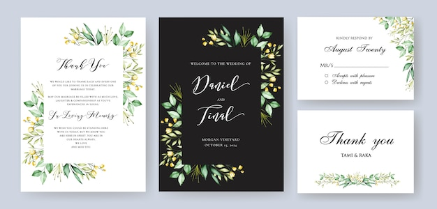 Elegancki kwiatowy wesele i zaproszenie szablon karty Premium Wektorów