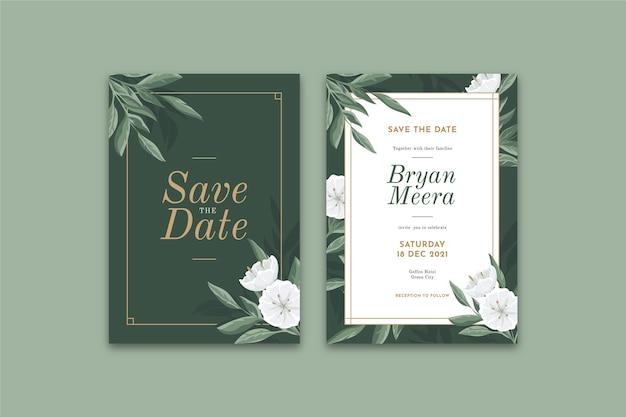 Elegancki Kwiatowy Zaproszenia ślubne Szablon Darmowych Wektorów