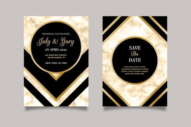 Elegancki marmurowy szablon zaproszenia ślubne ze złotymi detalami Darmowych Wektorów