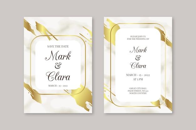 Elegancki Marmurowy Szablon Zaproszenia ślubne Darmowych Wektorów