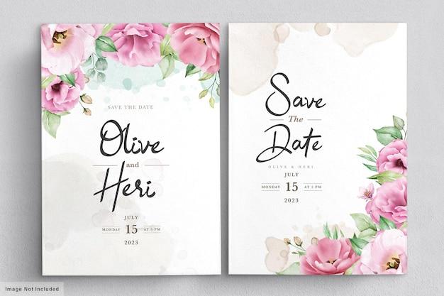 Elegancki Miękki Kwiatowy Szablon Zaproszenia ślubne Darmowych Wektorów