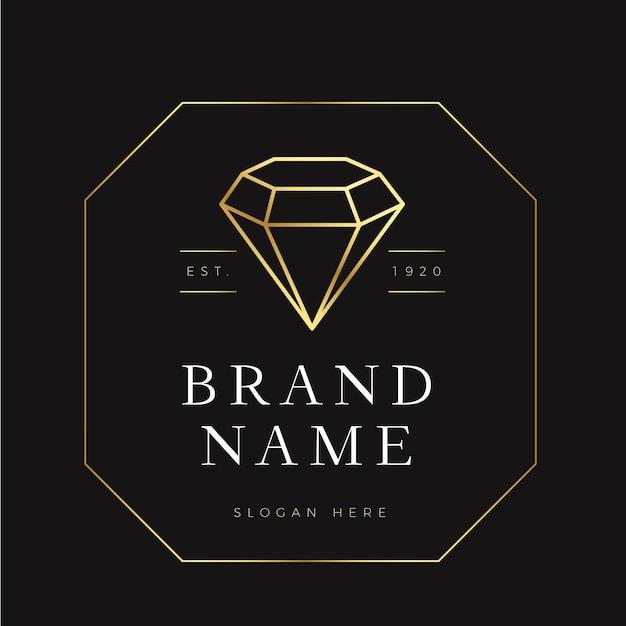 Elegancki Motyw Z Diamentowym Logo Darmowych Wektorów
