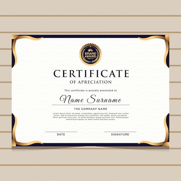 Elegancki niebieski certyfikat świadectwa dyplomu Premium Wektorów