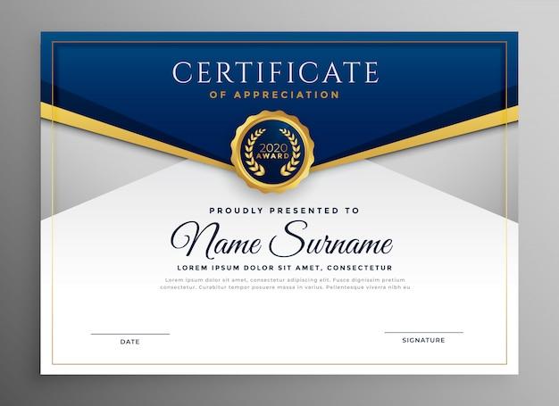 Elegancki niebieski i złoty szablon certyfikatu dyplomu Darmowych Wektorów