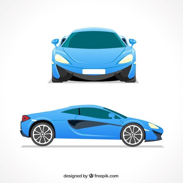 Elegancki niebieski samochód sportowy Darmowych Wektorów