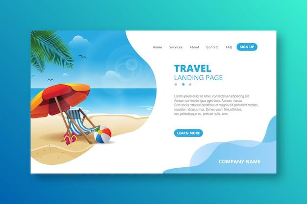Elegancki nowoczesny szablon strony docelowej podróży Premium Wektorów