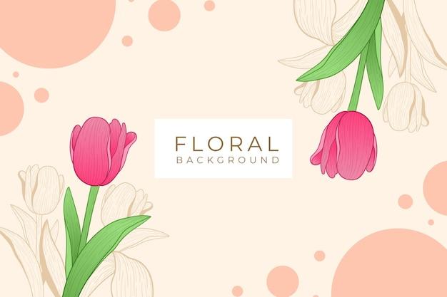 Elegancki, Piękny Kwiatowy Tło W Stylu Konspektu Premium Wektorów