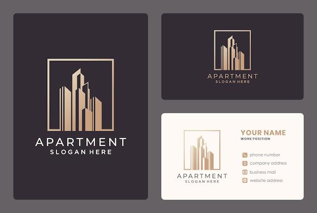 Elegancki Projekt Logo Apartemant / Building Z Wizytówką. Premium Wektorów