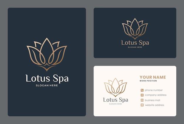 Elegancki Projekt Logo Lotosu Z Wizytówką Premium Wektorów