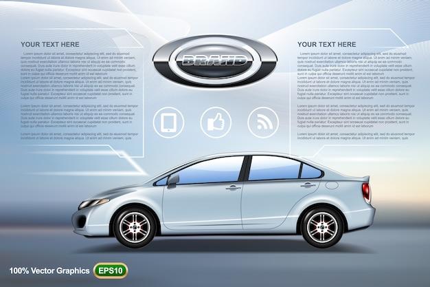 Elegancki Samochód Sedan Reklamy Szablon Makiety Premium Wektorów