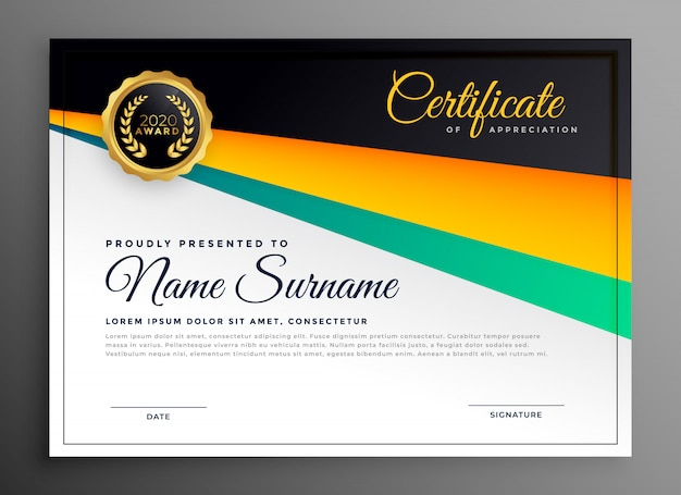 Elegancki szablon certyfikatu uznania Darmowych Wektorów
