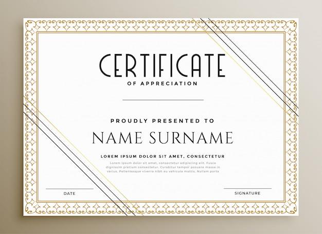 Elegancki Szablon Certyfikatu W Złotym Motywie Darmowych Wektorów