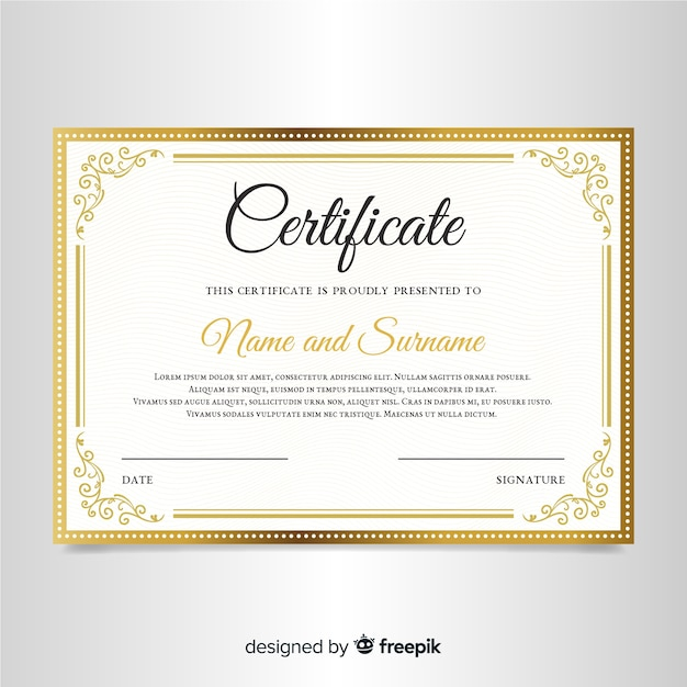 Elegancki szablon certyfikatu z ramką ozdobną Darmowych Wektorów