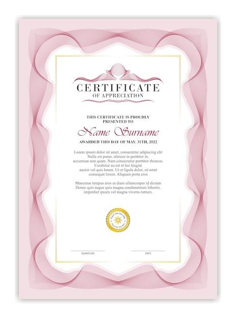 Elegancki Szablon Certyfikatu Z Rocznika Czerwoną Giloszową Ramką Premium Wektorów