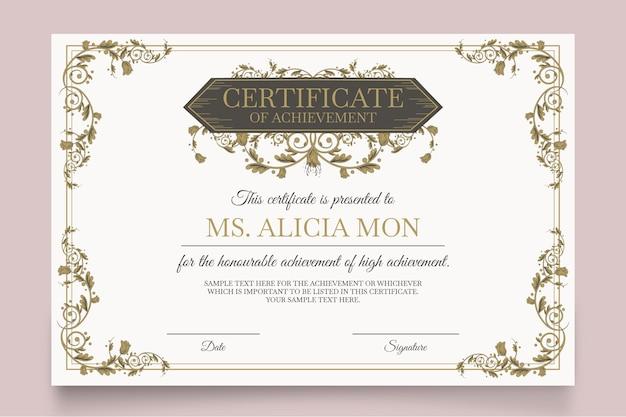 Elegancki Szablon Certyfikatu Z Różnymi Ornamentami Darmowych Wektorów