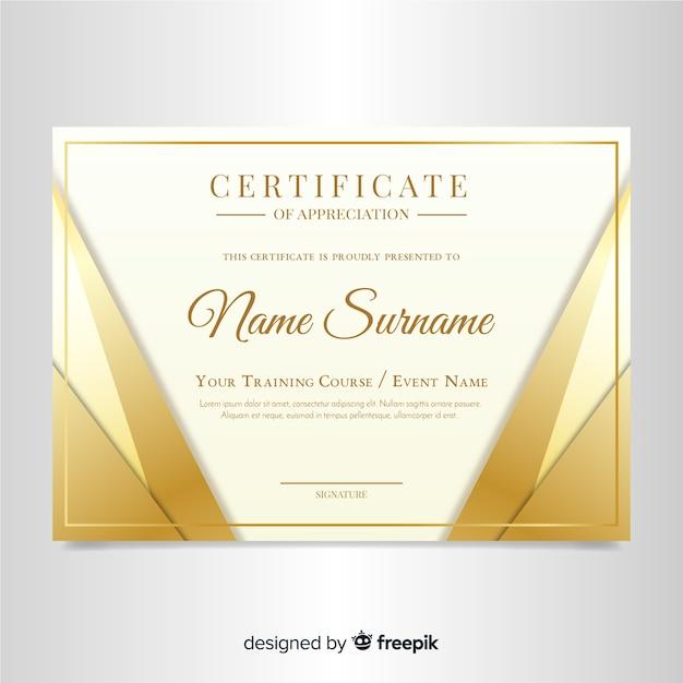 Elegancki szablon certyfikatu ze złotym wzorem Darmowych Wektorów