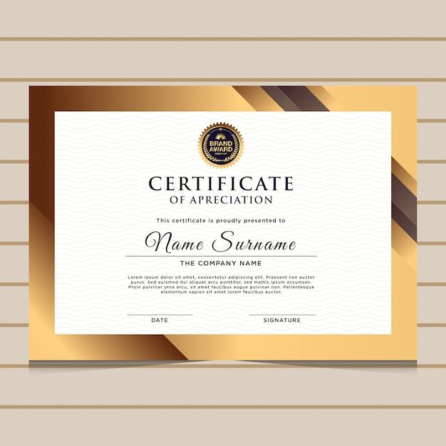 Elegancki szablon certyfikatu złoty dyplom Premium Wektorów