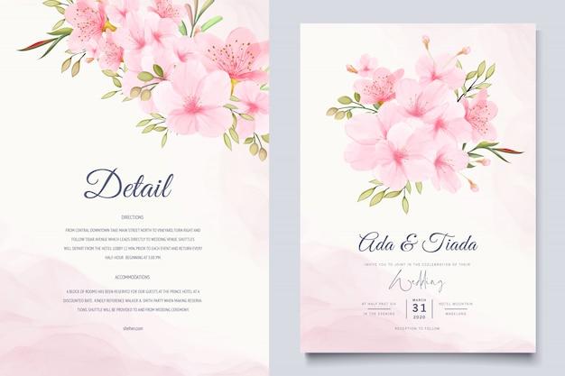 Elegancki Szablon Karty Akwarela Kwiat Wiśni Premium Wektorów