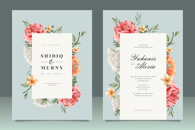 Elegancki szablon karty ślub z uniwersalnym kwiatowy ramki Premium Wektorów