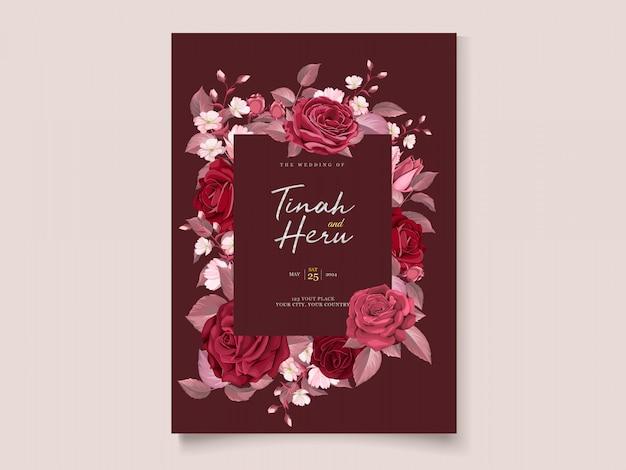 Elegancki Szablon Karty ślubu Z Bordowym Kwiatów I Liści Darmowych Wektorów
