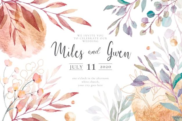 Elegancki szablon zaproszenia na ślub gotowy do druku Darmowych Wektorów