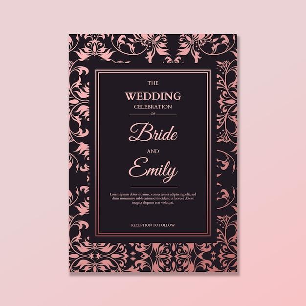 Elegancki szablon zaproszenia ślubne adamaszku Darmowych Wektorów
