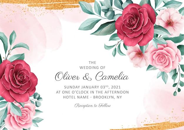 Elegancki szablon zaproszenia ślubne botaniczny zestaw z dekoracją akwarela i złoty brokat Premium Wektorów