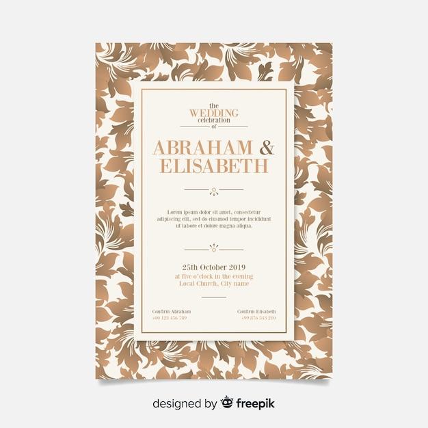 Elegancki szablon zaproszenia ślubne damaszek Darmowych Wektorów