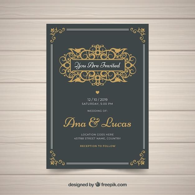 Elegancki szablon zaproszenia ślubne w stylu vintage Darmowych Wektorów
