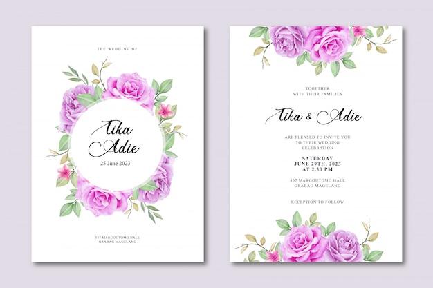 Elegancki szablon zaproszenia ślubne z akwarela kwiatowy Premium Wektorów