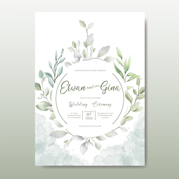 Elegancki szablon zaproszenia ślubne z akwarela liści Premium Wektorów