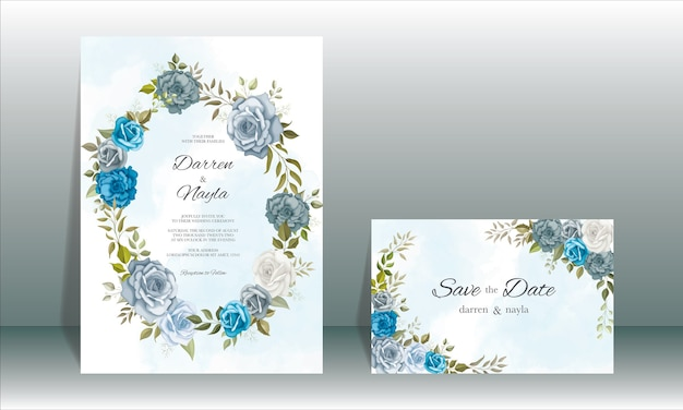 Elegancki Szablon Zaproszenia ślubne Z Dekoracją Kwiatową Premium Wektorów