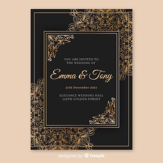 Elegancki szablon zaproszenia ślubne z mandali Darmowych Wektorów