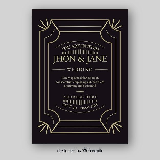 Elegancki szablon zaproszenia ślubne z ornamentami Darmowych Wektorów