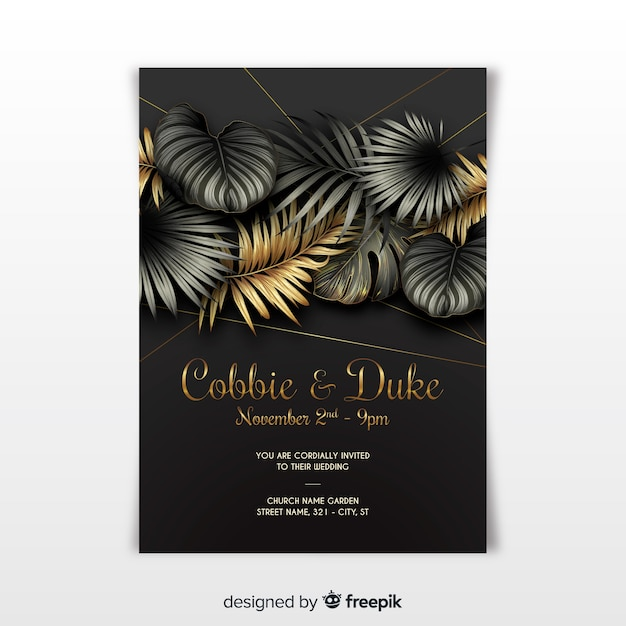 Elegancki szablon zaproszenia ślubne z tropikalnych liści Darmowych Wektorów