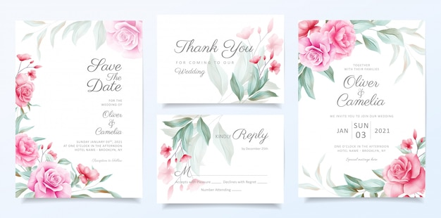 Elegancki Szablon Zaproszenia ślubne Zestaw Dekoracji Piękne Kwiaty Premium Wektorów