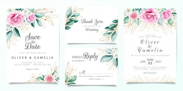 Elegancki szablon zaproszenia ślubne zestaw z dekoracją kwiatów i zarysowanymi liśćmi brokatu Premium Wektorów