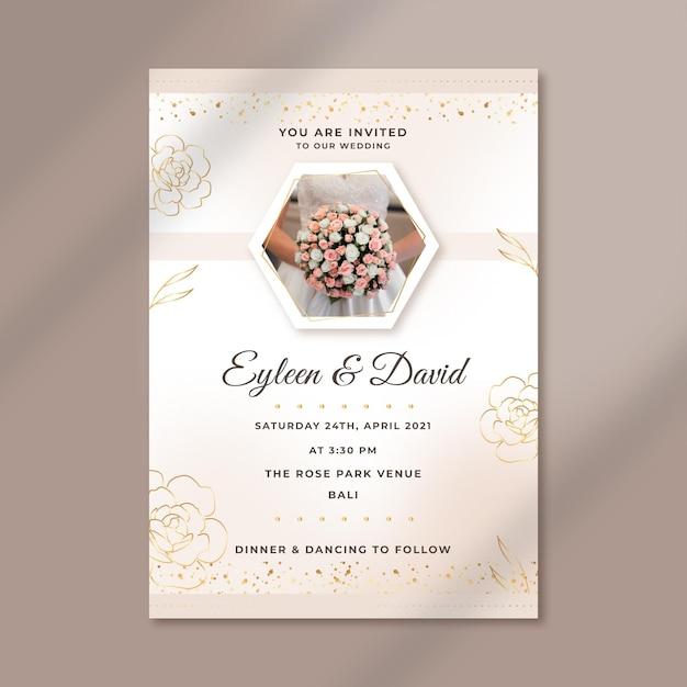 Elegancki Szablon Zaproszenia ślubne Darmowych Wektorów