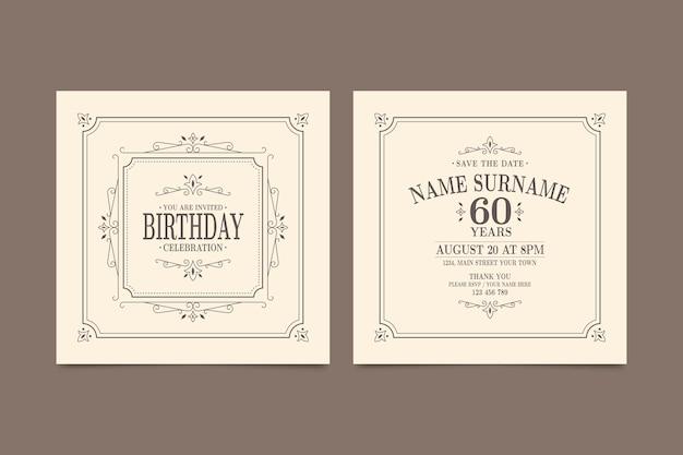 Elegancki Szablon Zaproszenia Urodzinowe Darmowych Wektorów