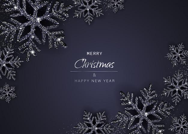 Elegancki Tło Boże Narodzenie Z Błyszczącymi Czarnymi Płatkami śniegu. Ilustracja Premium Wektorów