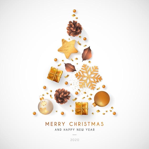 Elegancki Tło Boże Narodzenie Ze Złotą Dekoracją Darmowych Wektorów