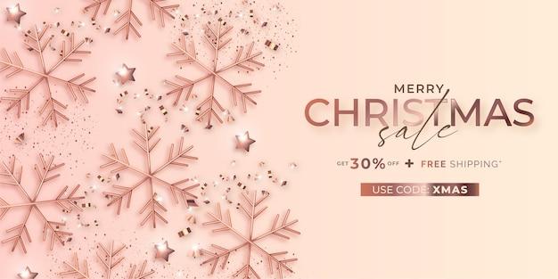 Elegancki Transparent świątecznej Sprzedaży Ze Złotymi Różowymi Płatkami śniegu Darmowych Wektorów