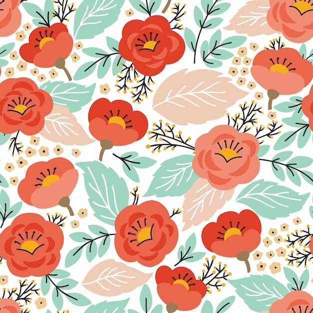Elegancki Wzór Z Kwiatami Premium Wektorów
