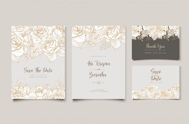 Elegancki Wzór Zaproszenia ślubne Z Motywem Kwiatowym Darmowych Wektorów