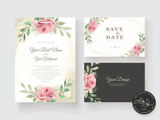 Elegancki Zestaw Kwiatowy Zaproszenia ślubne Darmowych Wektorów