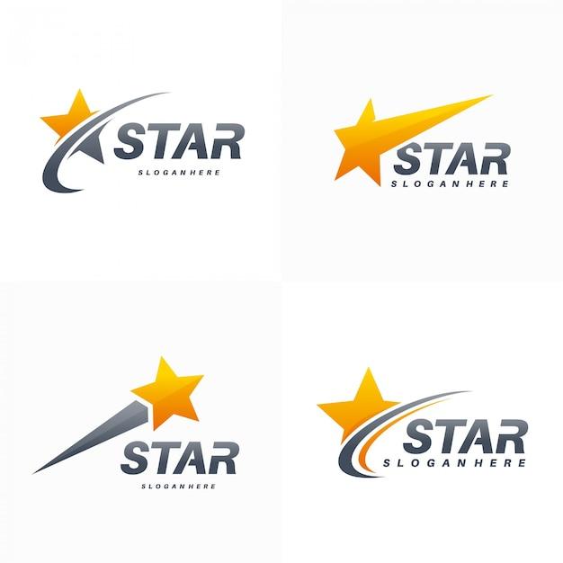 Elegancki Zestaw Logo Fast Star Premium Wektorów