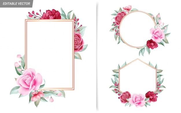Elegancki Zestaw Ramek Z Czerwonych I Brzoskwiniowych Kwiatów Do Kompozycji Kart ślubnych Premium Wektorów