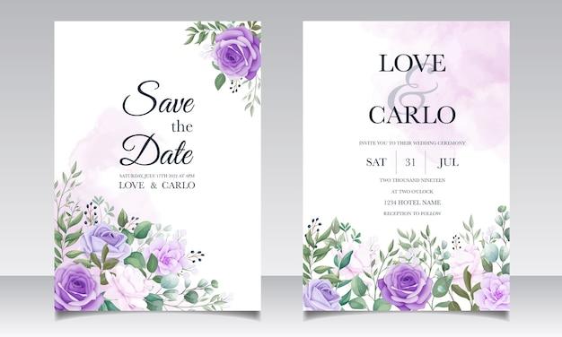 Elegancki Zestaw Zaproszeń ślubnych Z Pięknym Fioletowym Kwiatem Premium Wektorów