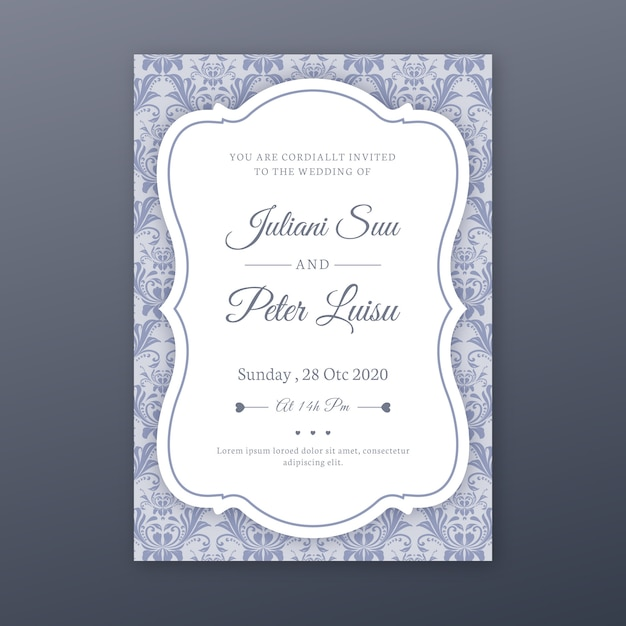 Eleganckie Adamaszku Szablon Zaproszenia ślubne Darmowych Wektorów